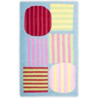 Safavieh Kids Striped Shapes 3-Foot x 5-Foot Area Rug in Blue/Multi