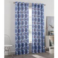 Newport Medallion 95-Inch Grommet Window Curtain Panel in Blue