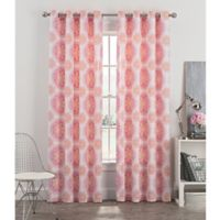 Newport Medallion 54-Inch Grommet Window Curtain Panel in Blush