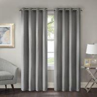 Prescott 84-Inch Room Darkening Grommet Top Window Curtain Panel in Grey