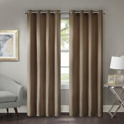 Prescott 108 Inch Room Darkening Grommet Top Window Curtain Panel In Mocha