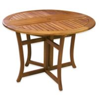 Outdoor Interiors® Eucalyptus Outdoor 43-Inch Round Folding Table in Brown Umber