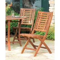 Outdoor Interiors® Eucalyptus Outdoor Folding Side Chairs in Brown Umber (Set of 2)