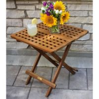 Outdoor Interiors® Eucalyptus Outdoor Folding Side Table in Brown Umber