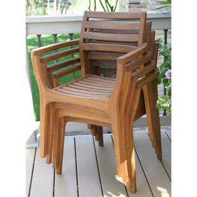 High Quality Outdoor Interiors® Eucalyptus Danish Stacking Chairs In Brown Umber (Set Of  4)