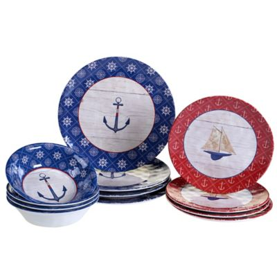 Certified International Nautique 12-Piece Melamine Dinnerware Set  sc 1 st  Bed Bath \u0026 Beyond & Buy Blue White Dinnerware Sets from Bed Bath \u0026 Beyond