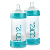 BARE® 2-Pack Polypropylene 8 oz. Air-Free Bottles with Easy-Latch Nipples in Turquoise