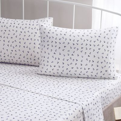 Brielle Fashion Cotton Jersey Anchor Twin Sheet Set In Navy