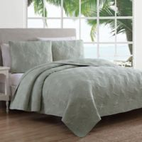 Estate Leaf Stitch II Full/Queen Quilt Set in Green