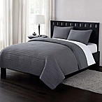 London Fog® Garment Washed Crinkle King Quilt Set in Grey