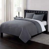 London Fog® Garment Washed Crinkle Full/Queen Quilt Set in Grey