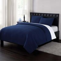 London Fog® Garment Washed Crinkle Full/Queen Quilt Set in Navy