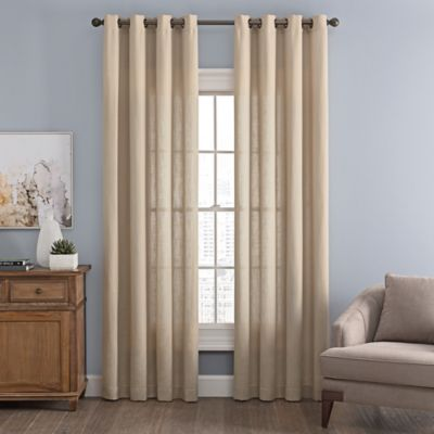 messina solid 84inch grommet window curtain panel in linen