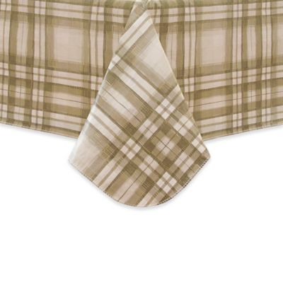Reeve Plaid 52 Inch X 70 Inch Oblong Vinyl Tablecloth In Grey
