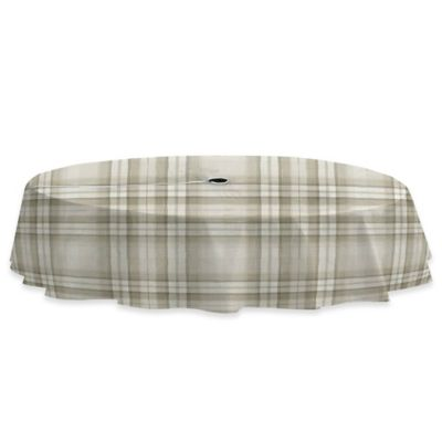 Reeve Plaid 60 Inch X 84 Inch Vinyl Tablecloth With Umbrella Hole In Grey
