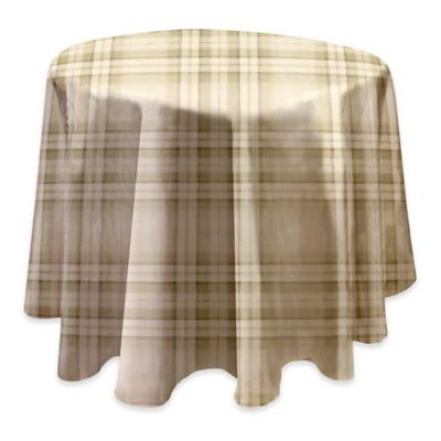 Reeve Plaid 70 Inch Round Vinyl Tablecloth In Grey