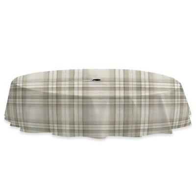 Reeve Plaid 70-Inch Round Vinyl Tablecloth with Umbrella Hole in Grey - Buy Outdoor Umbrella Tablecloths From Bed Bath & Beyond