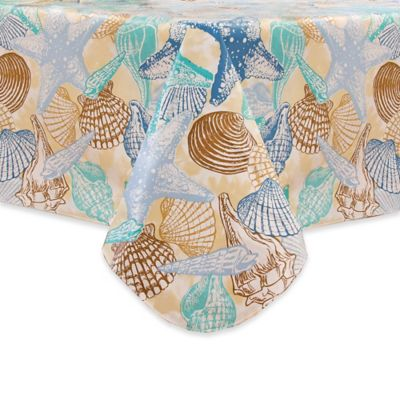 Coastal Shell 52 Inch X 70 Inch Oblong Tablecloth In Blue