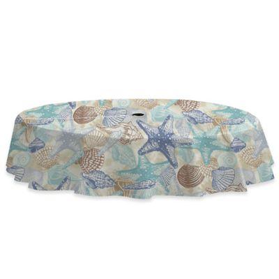 Coastal Shell 70 Inch Round Umbrella Tablecloth In Blue