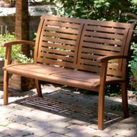 Outdoor Interiors® Eucalyptus Outdoor Luxe Bench in Brown Umber