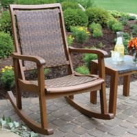 Outdoor Interiors® Eucalyptus and Wicker Outdoor Rocker in Brown