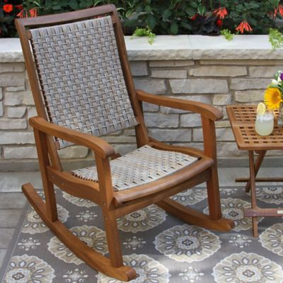 Beautiful Outdoor Interiors® Eucalyptus And Wicker Outdoor Rocker In Ash