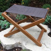 Outdoor Interiors® Eucalyptus and Sling Outdoor Ottoman/Stool in Brown Umber