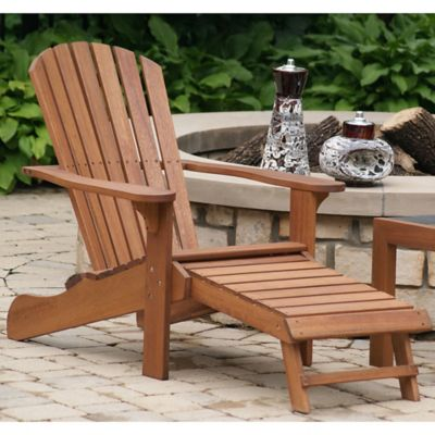 Outdoor Interiors® Eucalyptus Outdoor Adirondack Chair With Built In  Ottoman In Brown Umber