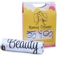 Morning Glamour® Satin Standard Pillowcases in Ivory/Black (Set of 2)