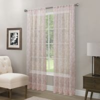Somerset Printed Crushed Sheer 108-Inch Rod Pocket Window Curtain Panel in Coral