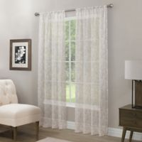 Somerset Printed Crushed Sheer 108-Inch Rod Pocket Window Curtain Panel in Linen