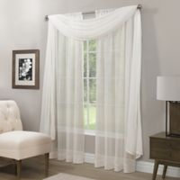 Somerset Crushed Sheer Window Scarf Valance in White