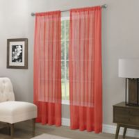 Somerset Crushed Sheer 95-Inch Rod Pocket Window Curtain Panel in Coral
