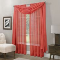 Somerset Crushed Sheer Window Scarf Valance in Coral