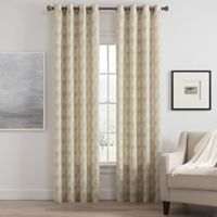Messina Print 63-Inch Grommet Window Curtain Panel in Linen