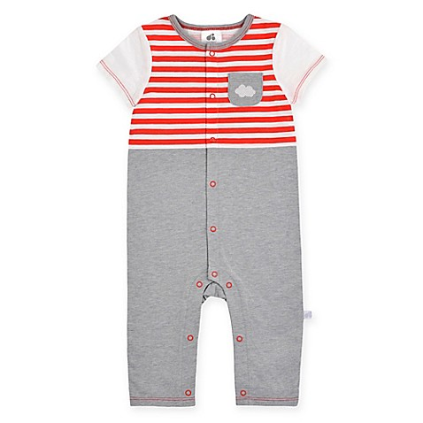 Just Born® Up in the Clouds Coverall in Red/Grey