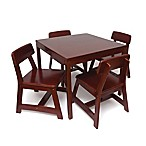 Lipper International Kids Square Table and 4 Chairs Set in Cherry