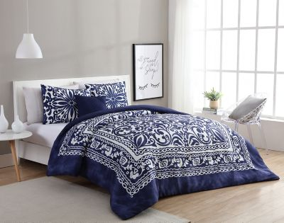 vcny eleanor 3piece twintwin xl duvet cover set in navywhite