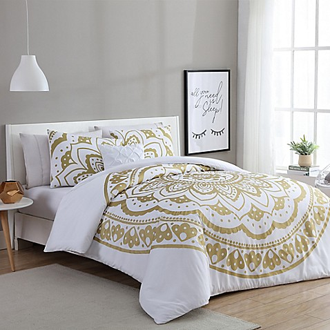 image of VCNY Karma Comforter Set in Gold/White