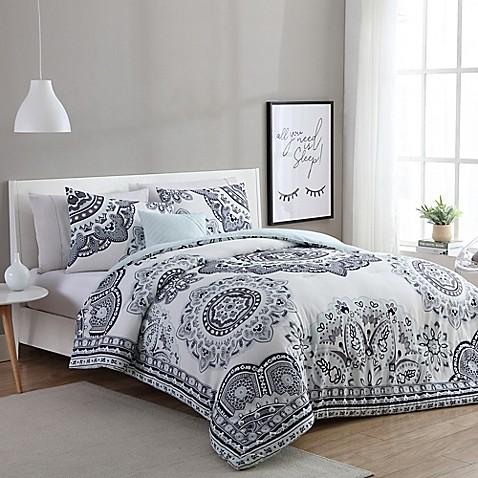Vcny Home Kaya Comforter Set In Mint Grey Bed Bath Amp Beyond