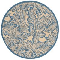 Safavieh Autumn Leaves 5-Foot 3-Inch Round Indoor/Outdoor Area Rug in Natural/Blue
