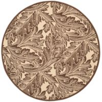 Safavieh Autumn Leaves 5-Foot 3-Inch Round Indoor/Outdoor Area Rug in Natural/Chocolate