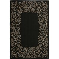 Safavieh Vine Scroll 9-Foot x 12-Foot Indoor/Outdoor Area Rug in Black