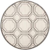 Safavieh Amherst Abigail 7-Foot Round Indoor/Outdoor Area Rug in Ivory/Light Grey