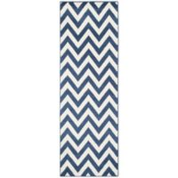 Safavieh Amherst Chevy 2-Foot 3-Inch x 7-Foot Indoor/Outdoor Area Rug in Navy/Beige