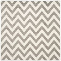 Safavieh Amherst Chevy 5-Foot Square Indoor/Outdoor Area Rug in Dark Grey/Beige