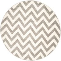 Safavieh Amherst Chevy 9-Foot Round Indoor/Outdoor Area Rug in Dark Grey/Beige