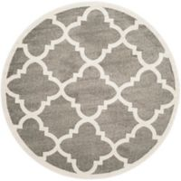 Safavieh Amherst Geo 7-Foot Round Indoor/Outdoor Area Rug in Dark Grey/Beige