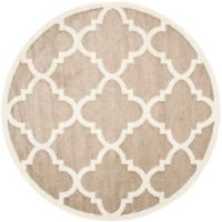 Safavieh Amherst Geo 7-Foot Round Indoor/Outdoor Area Rug in Wheat/Beige