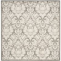 Safavieh Amherst Medallion 9-Foot Square Indoor/Outdoor Area Rug in Dark Grey/Beige